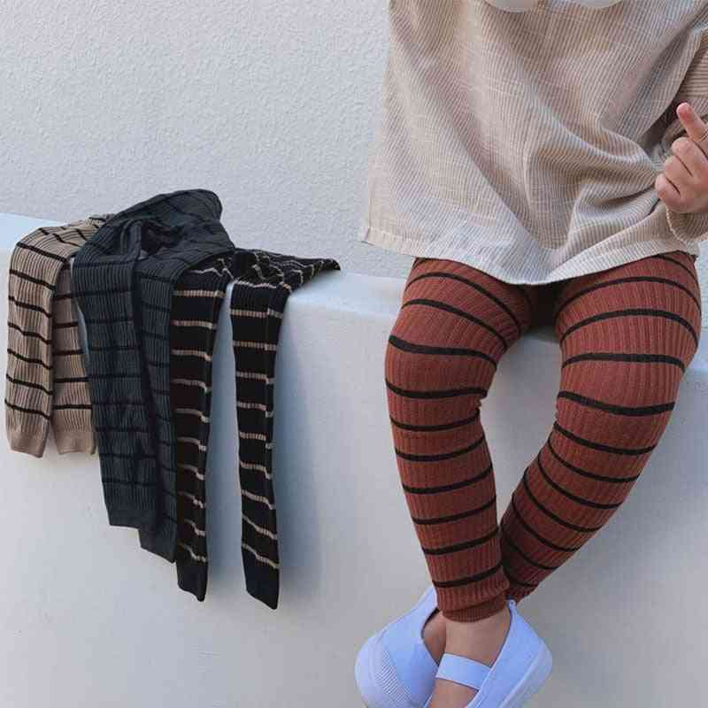 Kid Cotton Striped Leggings Knit Pants, Cute Stretchy Warm Trousers