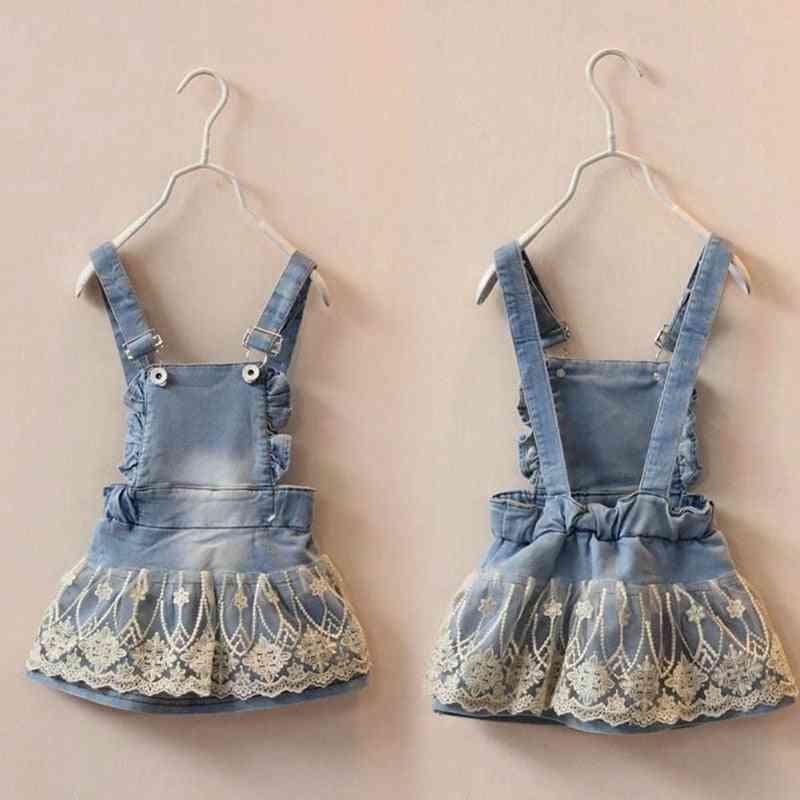 Baby Lace Denim Suspender Skirts