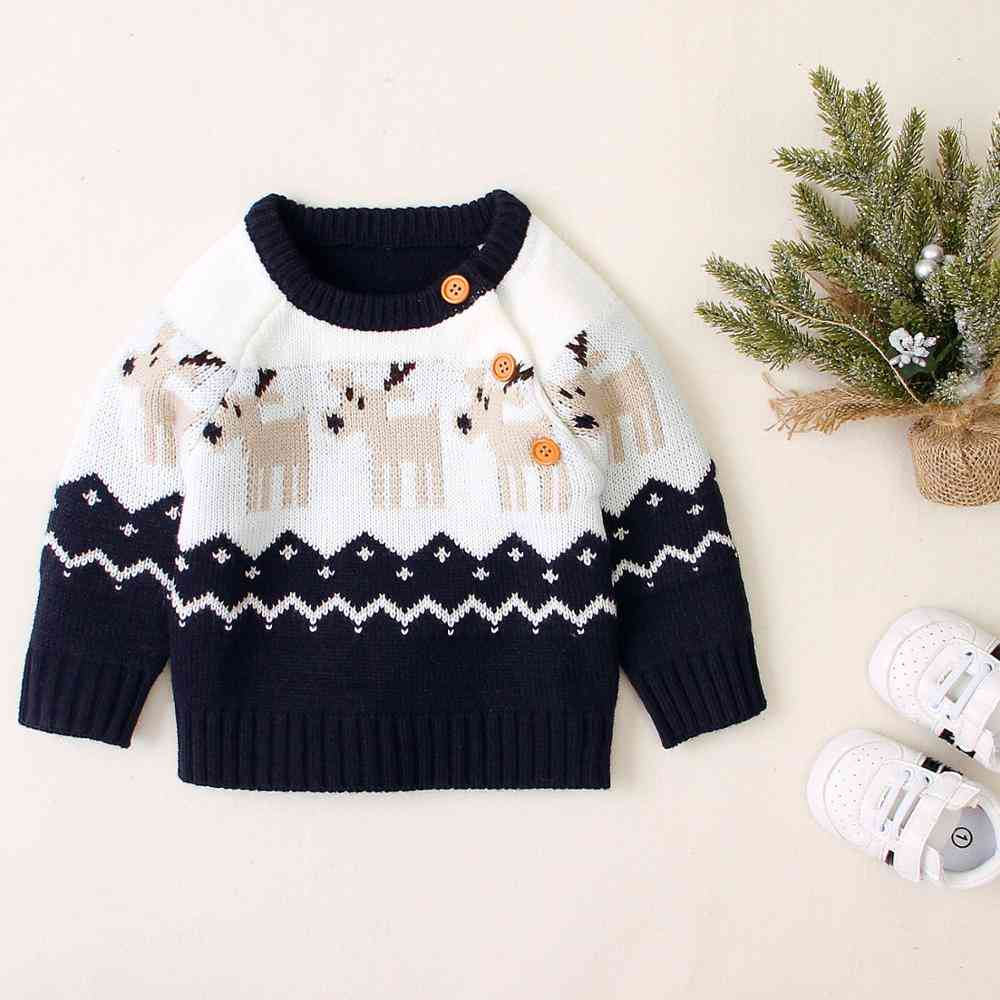 Babies Winter Sweaters-casual O Neck Long Sleeve Knitwear Clothes
