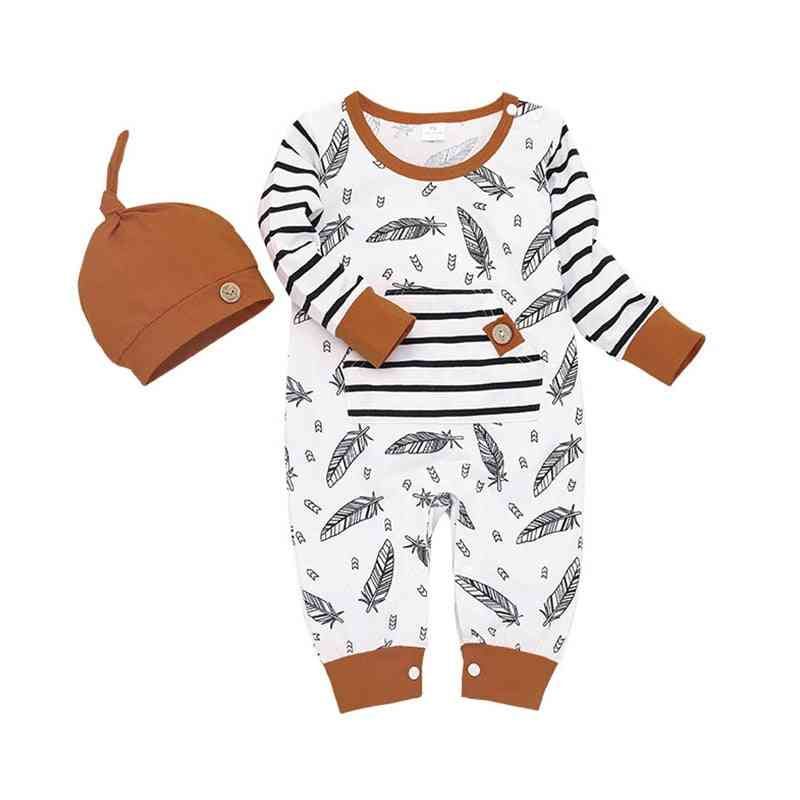 Winter Autumn Newborn Baby Feather Rompers Tops Striped Pants Clothes Outfits Set
