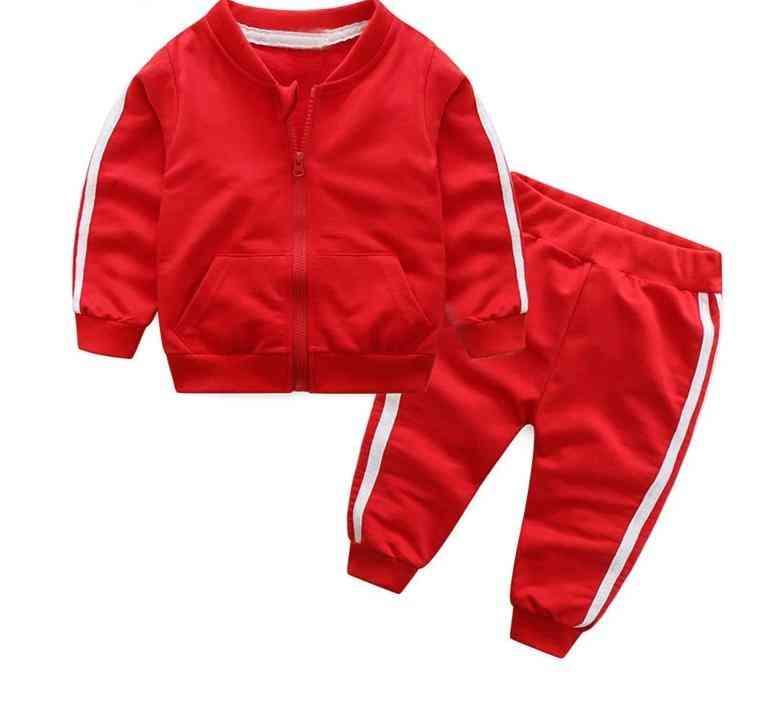 Baby Girl Cotton Long Sleeve Solid Zipper Jacket+pants