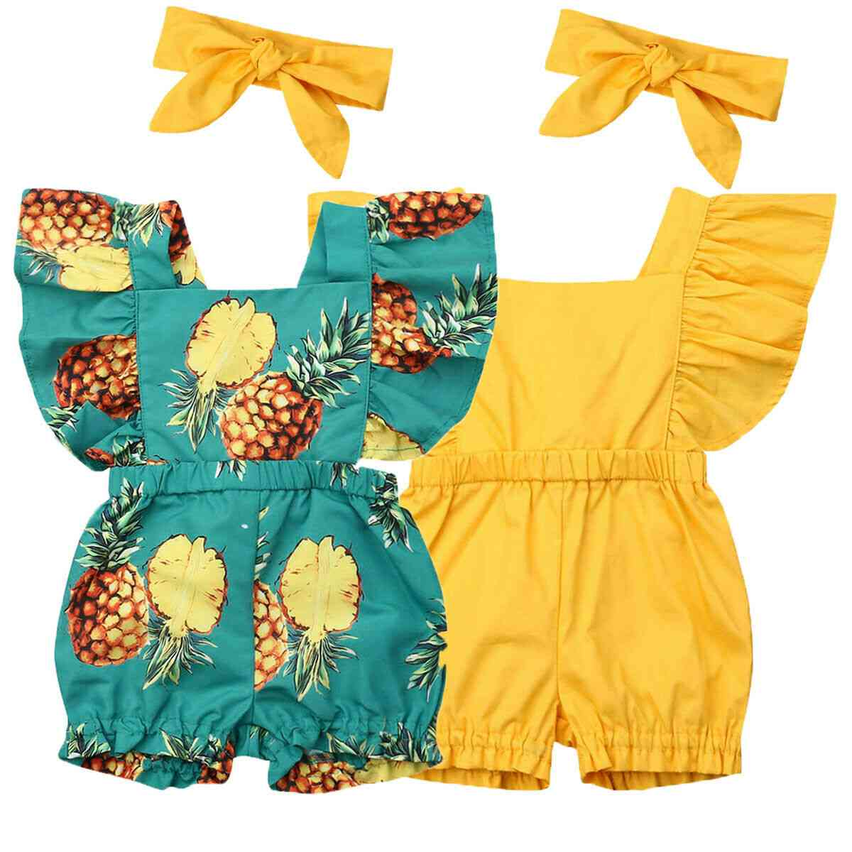 Newborn Baby Girl Clothes Fly Sleeve Ruffle Romper Jumpsuit Headband Outfits Set