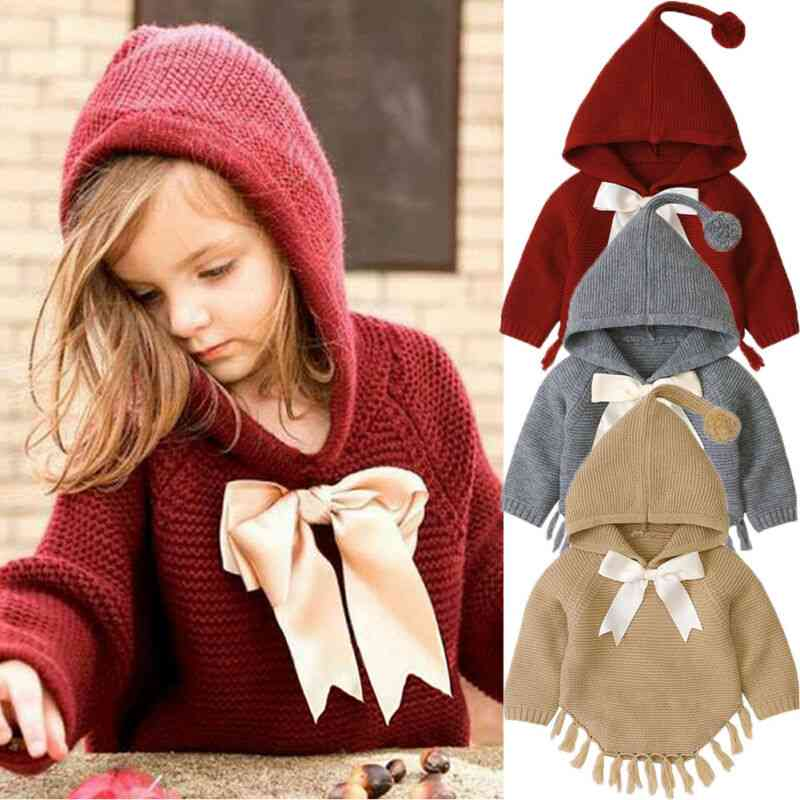 Newborn Baby Winter Knitted Sweaters Coat, Cute Lovely Bowknot Jacket