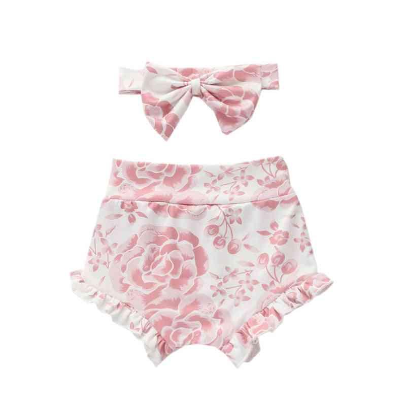 Baby Leopard Shorts, Cotton Ruffles Pants - Summer Clothing Set