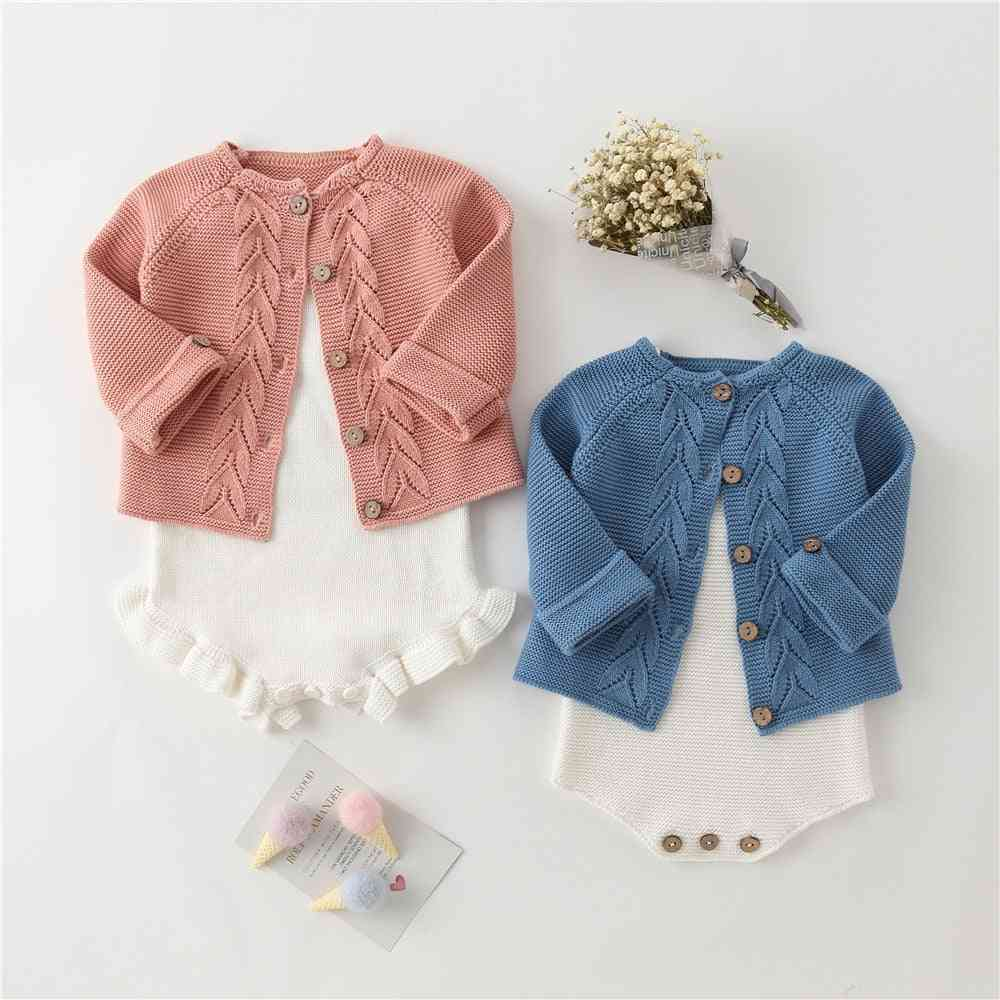 3d Leaves Design Knit Sweater Cardigan Romper Clothing Set Knitting