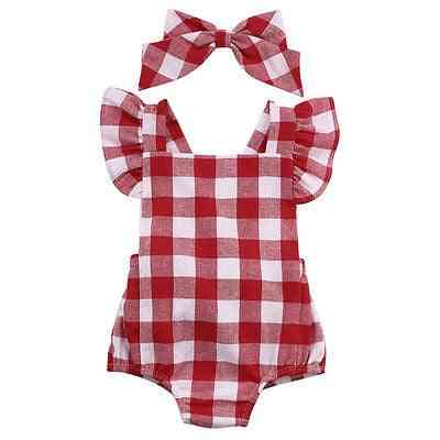 British Style, Red Plaid Pattern-short Sleeve Bodysuit For Baby