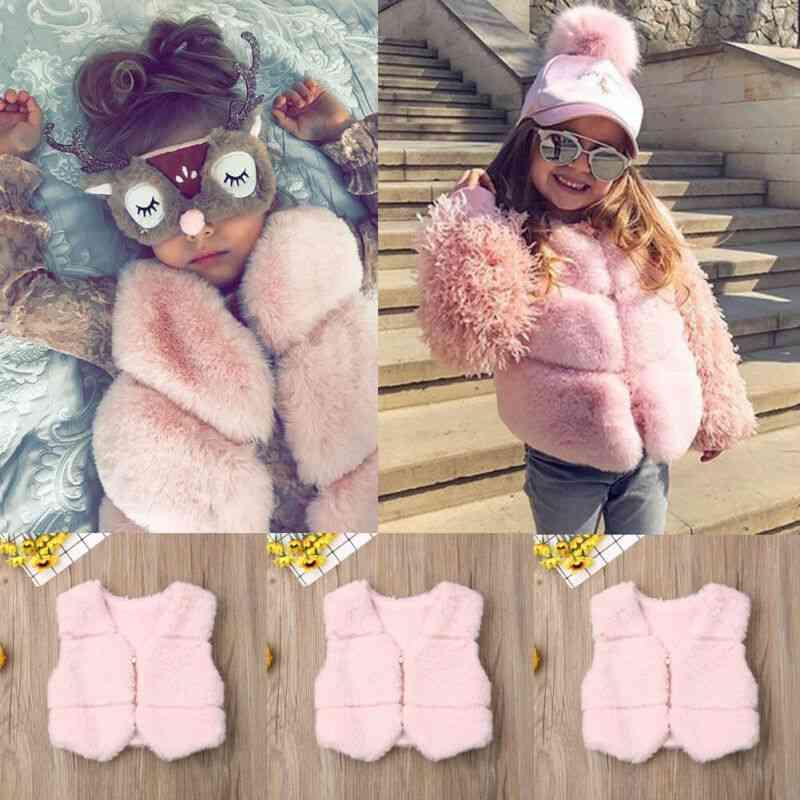 Autumn Winter Baby Girl Faux Vest Waistcoat Kid Warm Jacket Outwear Coat Tops Clothes