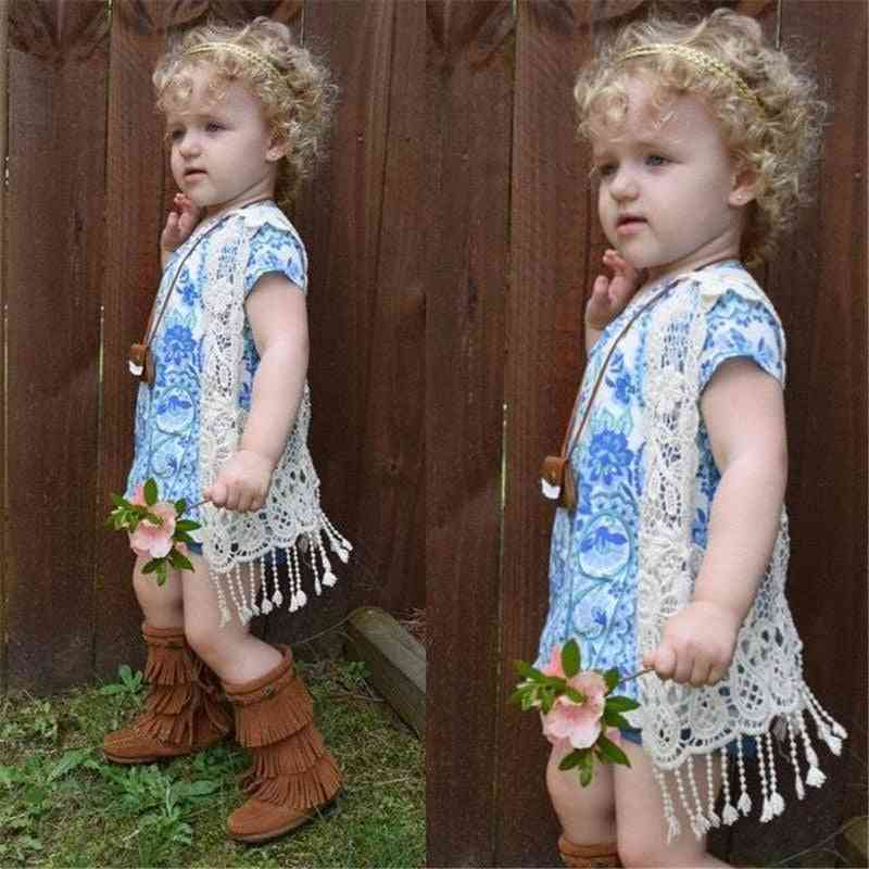 1pcs Lace Crochet Hollow Out, Cardigan Vest Tops For Baby Girl