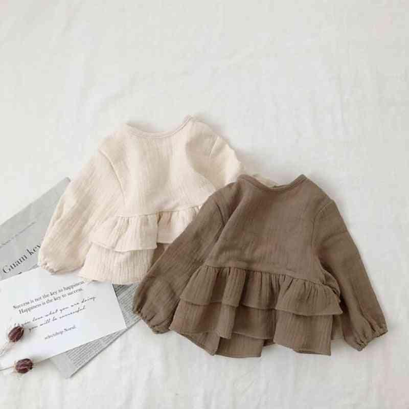 Ruffle Shirt - Linen Blouse Base Tops For