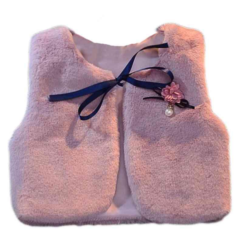 Faux Fur Flower Waistcoats - Winter Vest Warm Coat / Jacket For Baby Girl