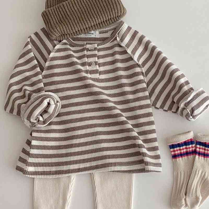 Striped Infant Boys Blouse, Brief Toddler Girls Base Shirt With  Long Sleeve