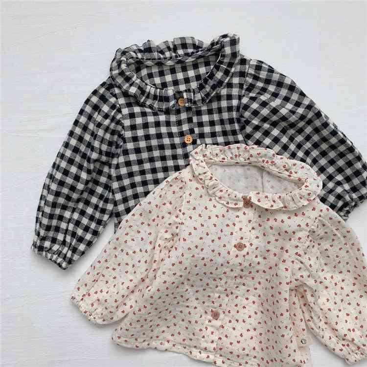 Baby Girls, Pure Cotton Cute Plaid Long Sleeve Doll Shirts