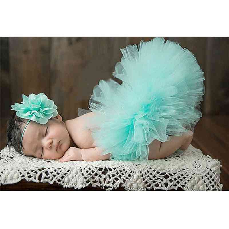 Newborn Baby Photography Skirt With Flower, Headband Photo Props Clothes