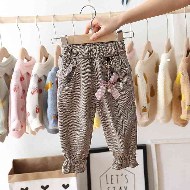 Casual  Ruffles Trousers With Polka Dot Bow For Kids