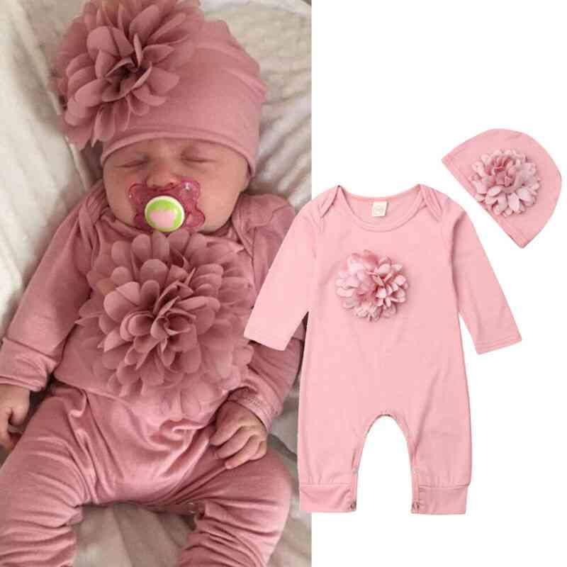 Newborn Baby Long Sleeve Rompers, Floral Jumpsuit / Bodysuit Hat Sets Clothing