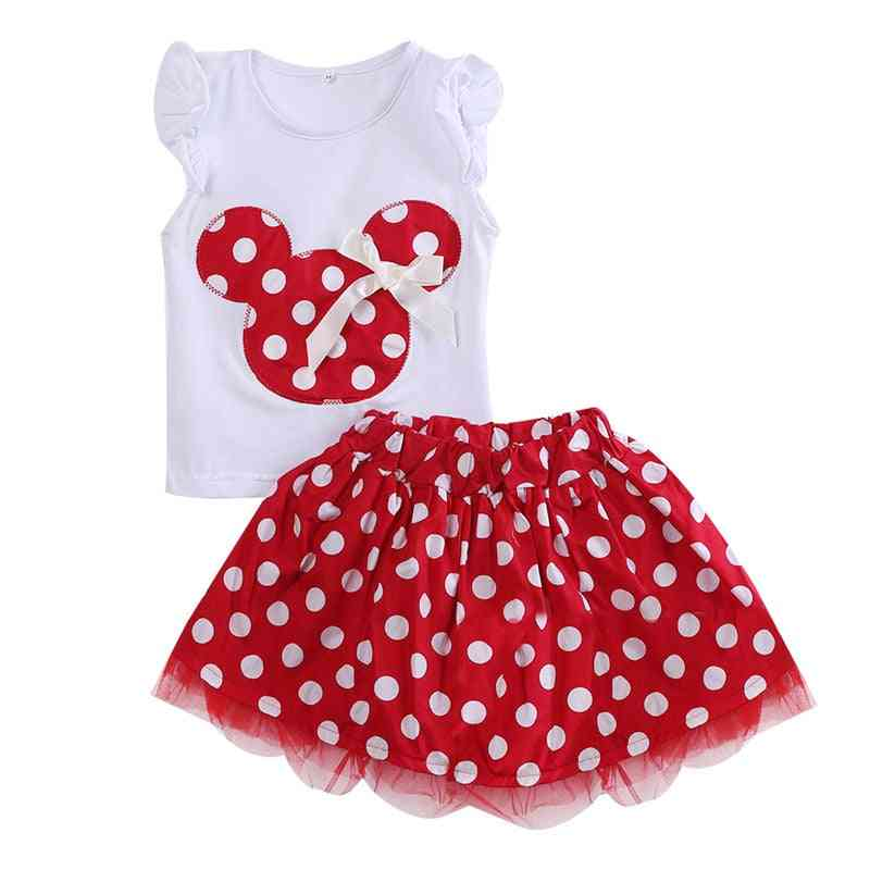 Mini Mouse And Polka Dot Pattern Short Sleeve T-shirt And Skirt