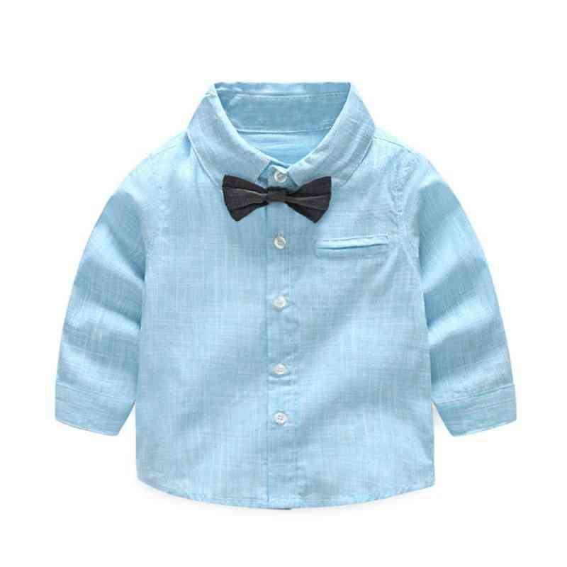 Summer Baby Boy Shirt, Formal Cotton Bow Tie Blouse, Striped Long Sleeve Casual Top