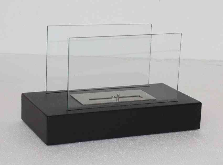 Bio Ethanol Fireplace With Stainless Steel Table