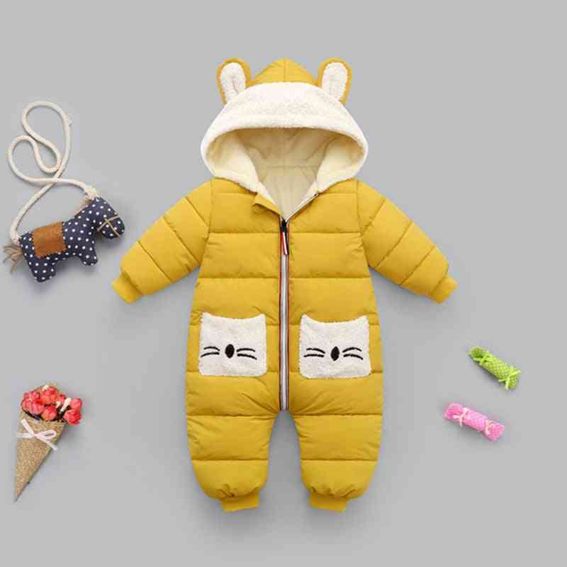 Newborn Winter Snowsuit, Baby Boy Thick Cotton Warm Jumpsuit, Cute Hooded Romper Overall Girl Clothing Coat