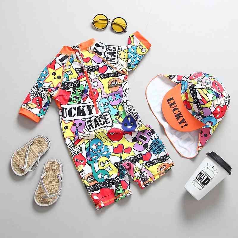 Children's Swimwear Graffiti Print Swimming Suit For Baby Unisex Uv Bathing Clothes