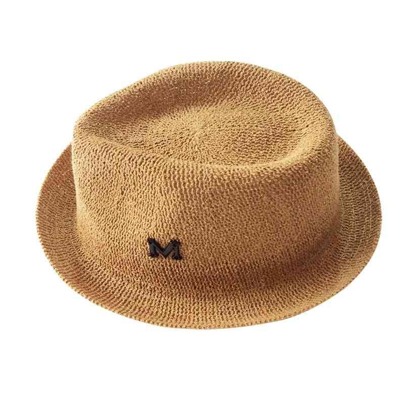 Children Hat Letter M Straw Cap For - Panama Hat, Sun Cap Roll Up Baby Caps