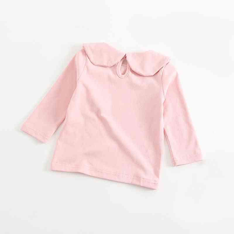 Lovely Cozy Petal Collar Shirt, Baby Boy/girls Long Sleeve Cotton Blouse Top