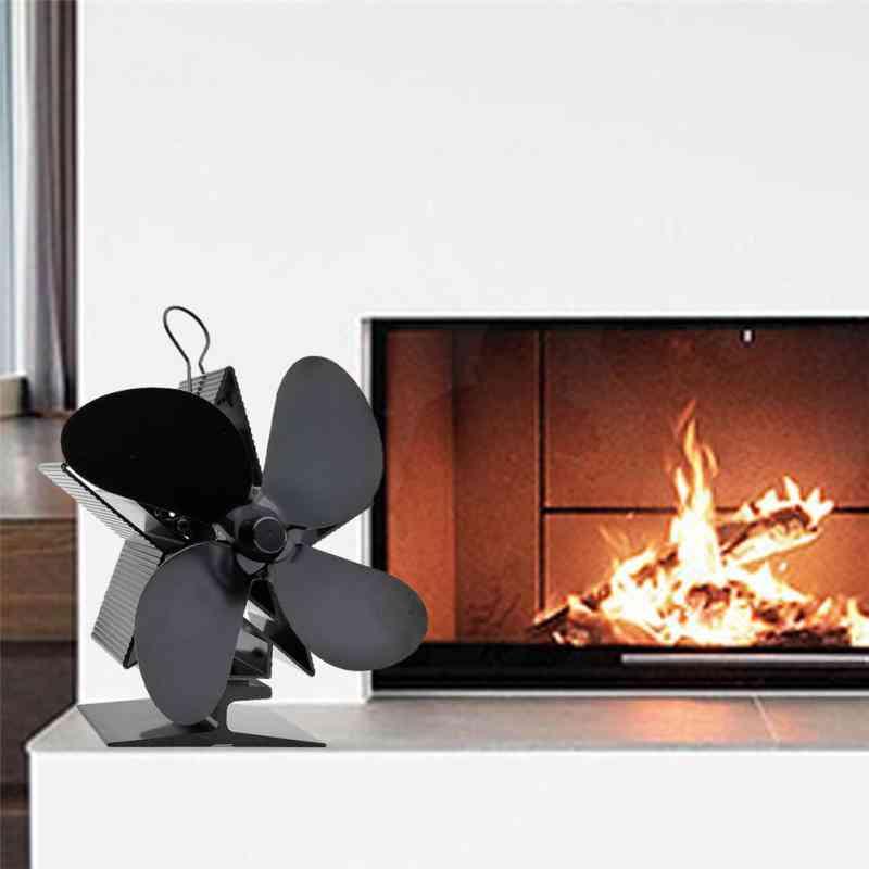 4-blade Eco Friendly Heated Fireplace Fan