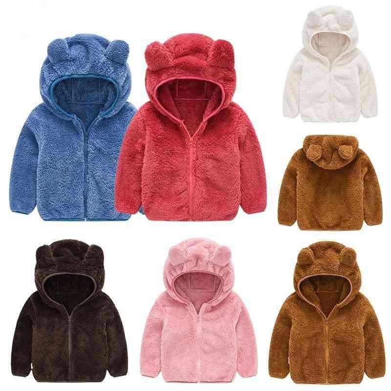Cartoon Bear Shape, Hooded Warm Jackets For Kids