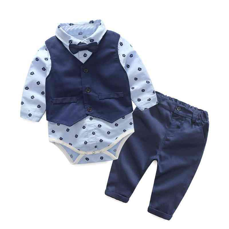 Autumn Fashion Clothing, Baby Bow Tie Rompers + Vest + Pants