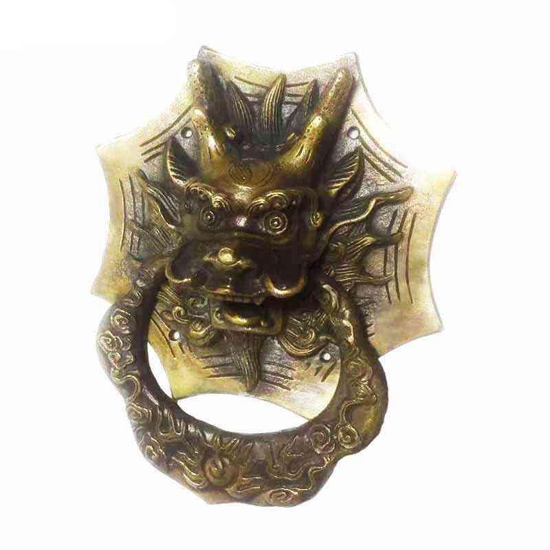 Vintage Brass Casting Dragon, Head Door Knocker, Solid Wood Villa, Door Handle Decoration