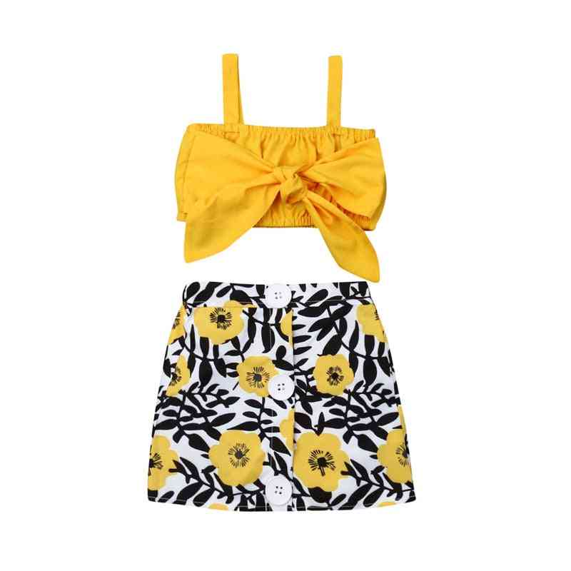 Newborn Baby Girl Clothes, Cute Big Bow Vest Tops, Flower Skirt