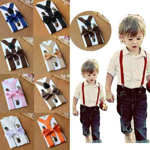Adjustable Suspender And Bow Tie Set For Kids