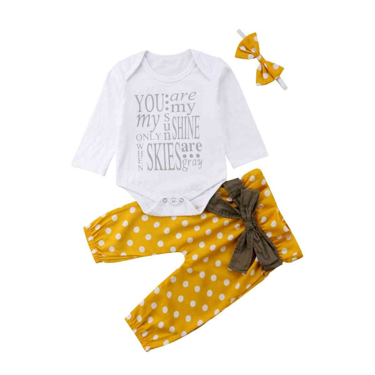 Newborn Baby Girl Cotton Tops, Romper Dot Bowknot Pants - Outfits Clothes