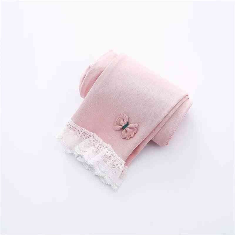 Cotton Lace, Bow Design Warmer Leggings For Kids