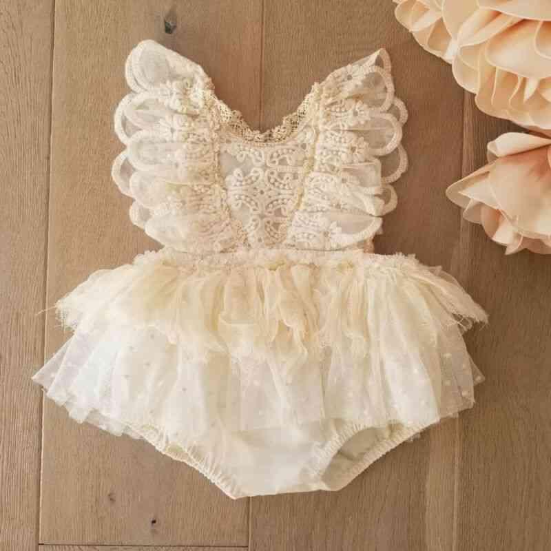 Newborn Baby Girl Flower Lace Romper, Bodysuit / Jumpsuit Tutu Dress
