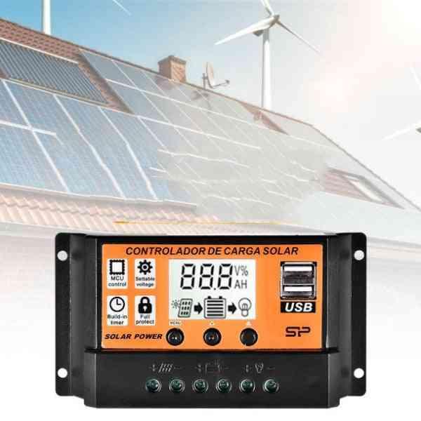 Solar Charge Controller-lcd Dual Usb Panel Regulator