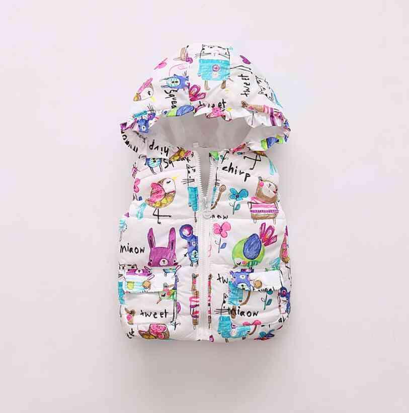 Warm Baby Girl Vest, Autumn & Winter Clothing, Outerwear Graffiti Waistcoat
