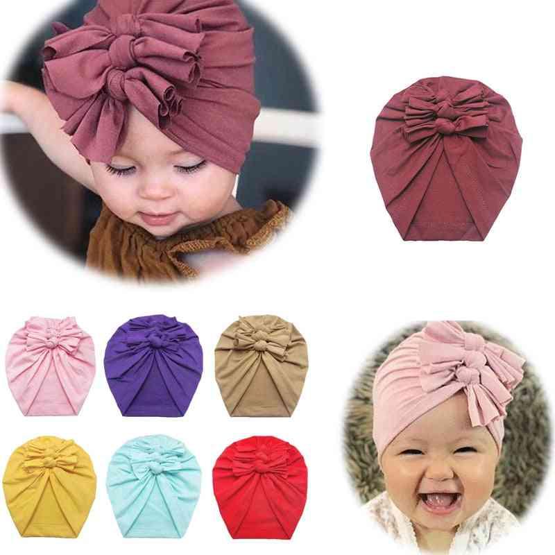 Baby Headband Hat, Bowknot Print Cotton Stretchy Turban Headband