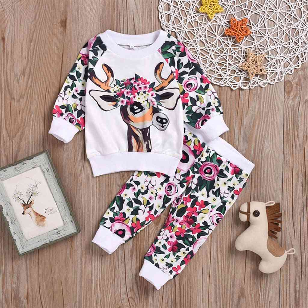 Cartoon Deer And Floral Printed-tops And Pant Set For Kids