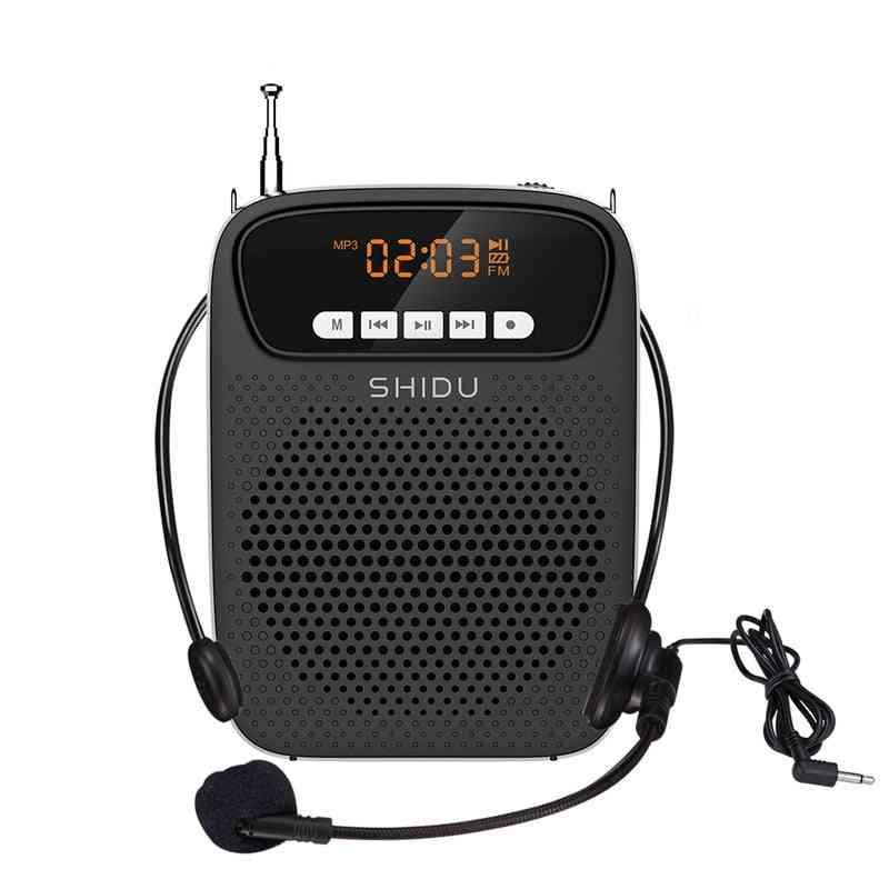 Portable Voice Amplifier, Wired Microphone Fm Radio, Aux Audio Recording Bluetooth Speaker