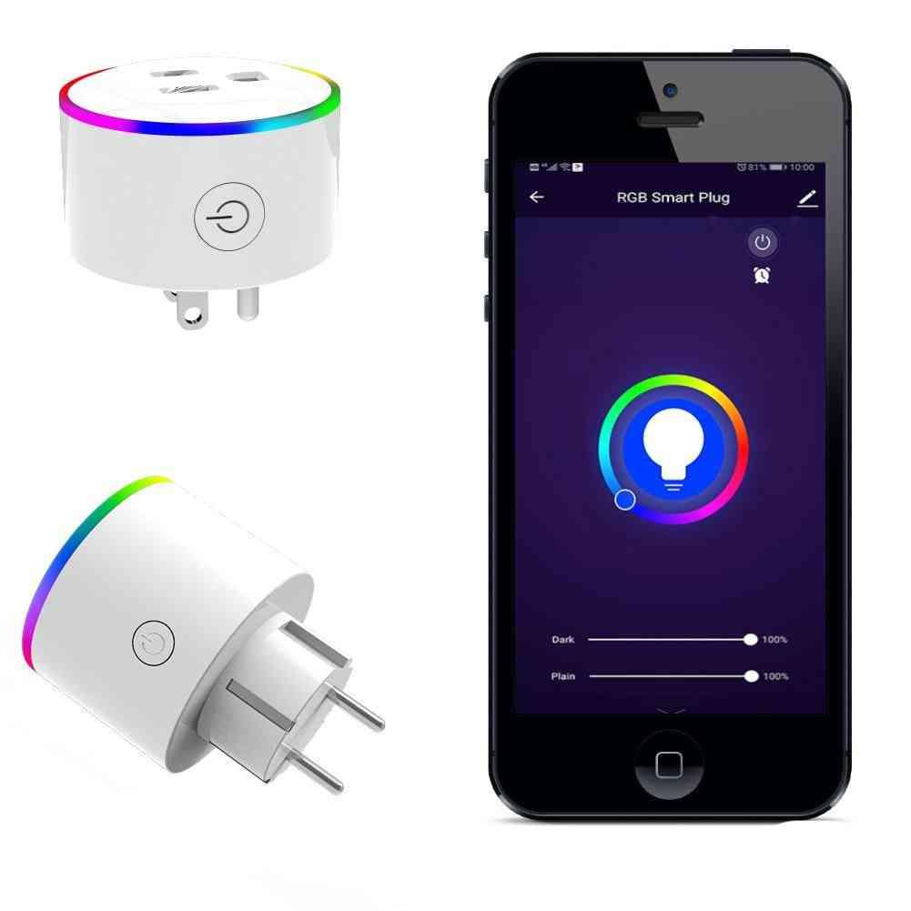 Rgb Wireless Power Socket Smart Plug - Remote Control With Alexa