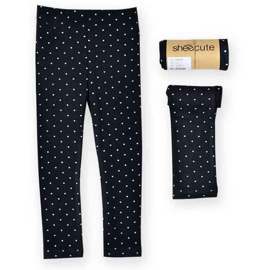 Girls Skinny Leggings, Long Pants- Cotton Bottoms Dotted Elastic Trousers
