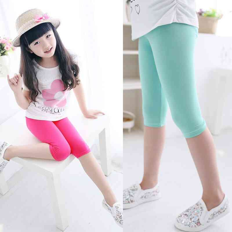 Girls Knee Length Five Pants- Cropped Clothing, Spring & Summer All Matches Bottoms Leggings