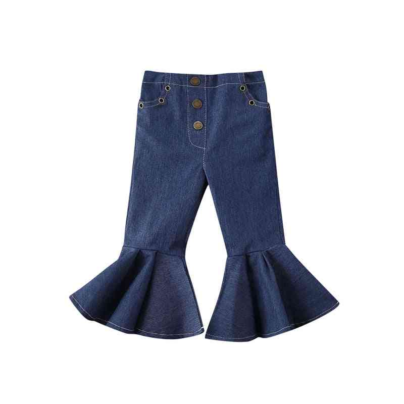 Baby Girl Buttons Skinny Flared Jeans Long Trousers