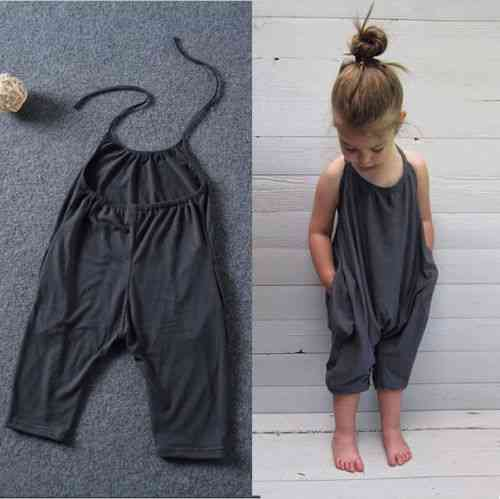 Summer Baby Girl Solid Overalls Jumpsuit, Soft Fashion Sunsuits, Outfit Clothes