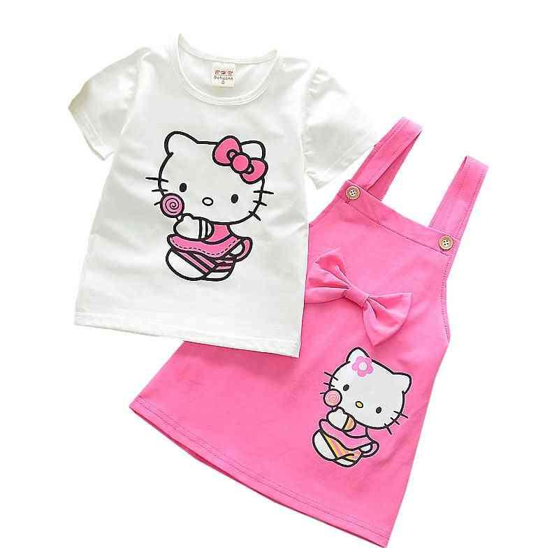 Girl Clothes Cotton Suspender Skirt -summer Short-sleeved T-shirt Set