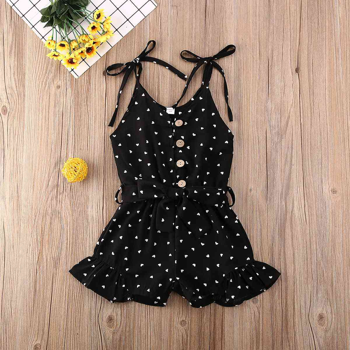 Toddler Baby Girl Clothes Love Peach Heart Print Strap Romper Jumpsuit -outfit Cotton Clothes