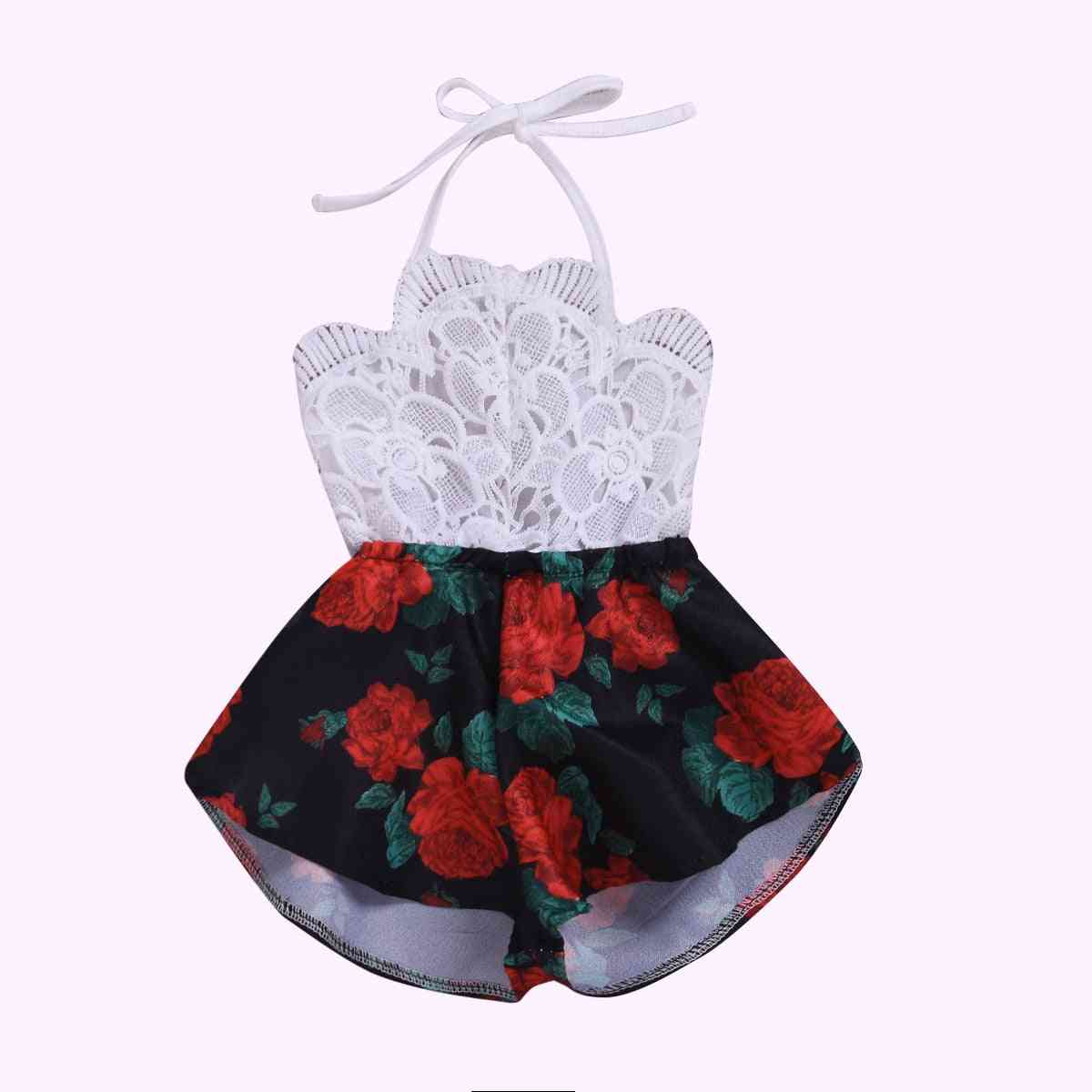 Pudcoco Summer Newborn Baby Girl Clothes- Sleeveless Lace Flower Print Strap Romper / Jumpsuit