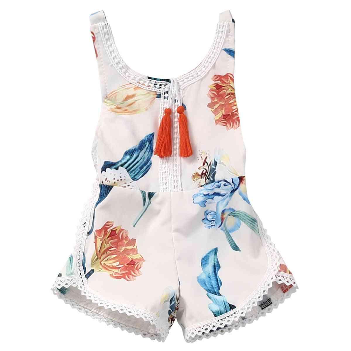 Girls Summer Clothing, Bib Overalls Jumpsuits Flower Print