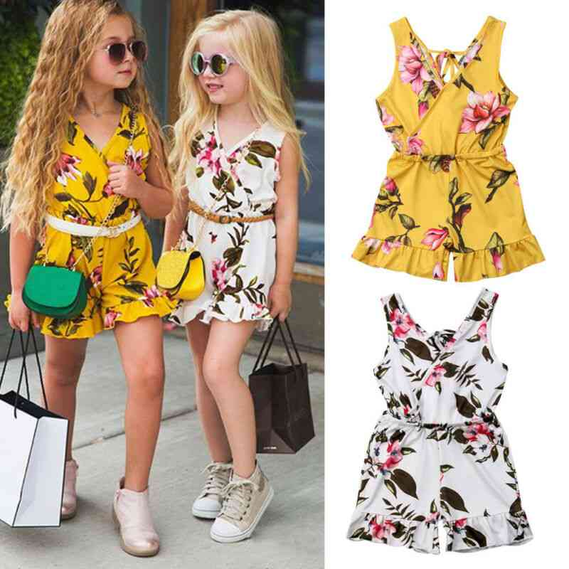 Summer Baby Girl Sleeveless Floral Romper Jumpsuit Toddler Kids Casual Overalls Playsuit